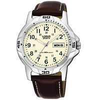 Lorus RXN49BX9 Men's Sports Day Date Leather Strap Watch, Brown/Cream