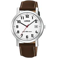 Lorus RXH65EX9 Men's Date Leather Strap Watch, Brown/White