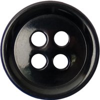 Groves Rimmed Button, 14mm, Pack of 6, Black