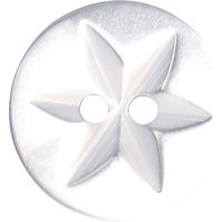 Groves Star Button, 17mm, Pack of 5, White
