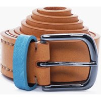 Belt With Contrast Keeper - tan