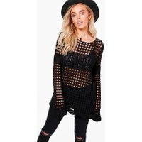Bell Sleeve Crochet Tunic - black