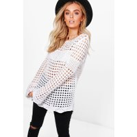 Bell Sleeve Crochet Tunic - white