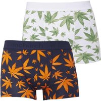 Fenchurch Mens Two Pack Printed Leaf Boxers Blue/Orange White/Green