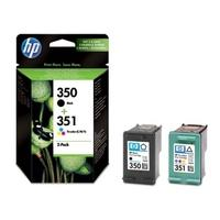 HP 350/351 Tri-colour & Black Ink Cartridges - Twin Pack, Black