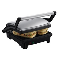 RUSSELL HOBBS 17888 3-in-1 Panini Press, Griddle & Health Grill - Silver, Silver