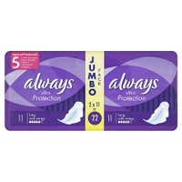 Always Ultra Protection Jumbo Pack 22 Long with Wings