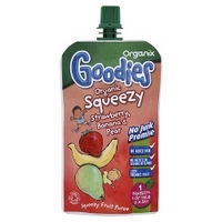 Organix Goodies -  Squeezy Strawberry, Banana & Pear from 12+ Months