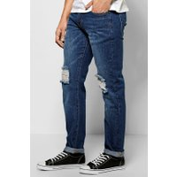 Fit Raw Rigid Jeans With Distressing - indigo