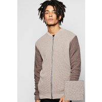 Zip Through Knitted Bomber - taupe