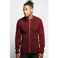 Knit Bomber With Distressing - wine