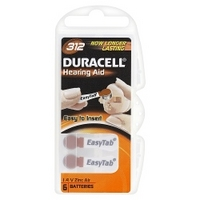 Duracell Hearing Aid 312 1.4 V Zinc Air Batteries x 6