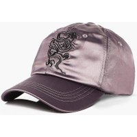 Embroidered Satin Cap - charcoal