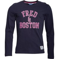 Fred & Boston Mens Long Sleeve Top With Chest Print Navy