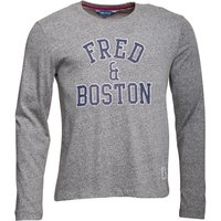 Fred & Boston Mens Long Sleeve Top With Chest Print Grey Salt + Pepper