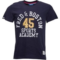 Fred & Boston Mens T-Shirt With Chest Print Navy