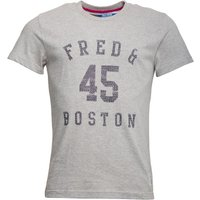 Fred & Boston Mens T-Shirt With Chest Print Grey Marl