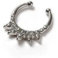 Mens SILVER Spike Septum Fake Nose Ring*, SILVER