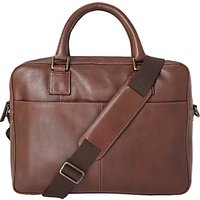 John Lewis & Partners Gladstone 2.0 Laptop Leather Briefcase, Brown