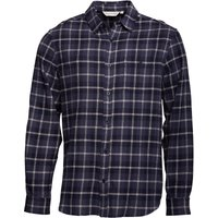 Kangaroo Poo Mens Long Sleeve Yarn Dyed Checked Flannel Shirt Navy/Blue