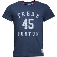 Fred & Boston Mens T-Shirt With Chest Print Blue Marl