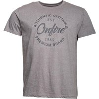 Onfire Mens Grindle Chest Print T-Shirt Grey