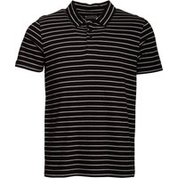 Onfire Mens Yarn Dyed Striped Polo Black/Light Grey Marl