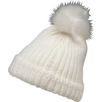 Board Angels Girls Rib Hat With Faux Fur Pom-Pom Winter White