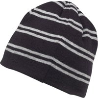 Kangaroo Poo Boys Knitted Striped Beanie Hat Navy/Grey Marl