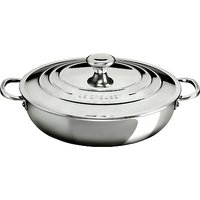 Le Creuset Signature 3-Ply Shallow 30cm Casserole with Lid, Stainless Steel