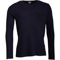 Fluid Mens Waffle Long Sleeve Top with Chest Pocket Navy