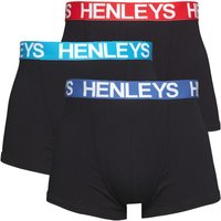 Henleys Mens Three Pack Boxer Trunks Black/Black/Black