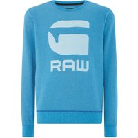Men's G-Star Sherland core art long sleeve sweatshirt, Light Blue