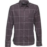 Fluid Mens Yarn Dyed Long Sleeve Flannel Shirt Charcoal