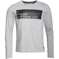Fluid Mens Long Sleeve Jersey Top With Chest Print Grey Marl