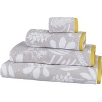 John Lewis & Partners Scandi Astrid Towels, Grey/Citrine