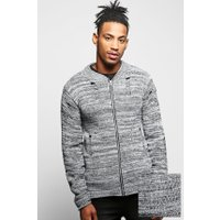 Knit Bomber With Distressing - grey