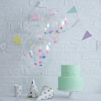 Ginger Ray Spot Confetti Filled Balloons, Pack of 5