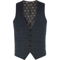 Men's Label Lab Axl Flannel Check Skinny Suit Waistcoat, Charcoal