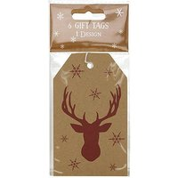 Boots Christmas Tag - Kraft Red Stag