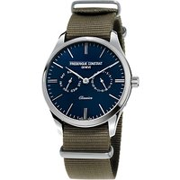 Frdrique Constant FC-259NT5B6 Men's Classics Day Date Leather Strap Watch, Brown/Navy