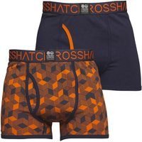Crosshatch Mens Qubeboid Two Pack Boxers Red Orange/Mood Indigo