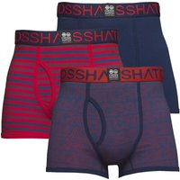 Crosshatch Mens Borderline Three Pack Boxers Estate Blue/Formula One