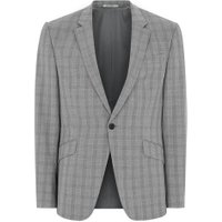 Mens Mid Grey Grey And Black Check Muscle Fit Suit Jacket, Mid Grey