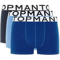 Mens Blue Assorted Colour Trunks 3 Pack*, Blue