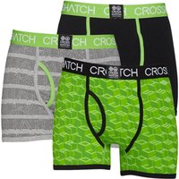 Crosshatch Mens Causeway Glo Three Pack Boxers Jamine Green/Black/Grey Marl