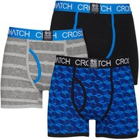 Crosshatch Mens Causeway Glo Three Pack Boxers Directoire Blue/Black/Grey Marl