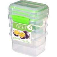 SISTEMA Fresh Rectangular 0.4 litre Containers - Green, Pack of 3, Green