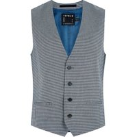 Mens Green Grey Houndstooth Skinny Suit Waistcoat, Green
