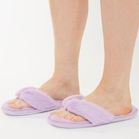Brave Soul Womens Fluffy Slippers Lilac
